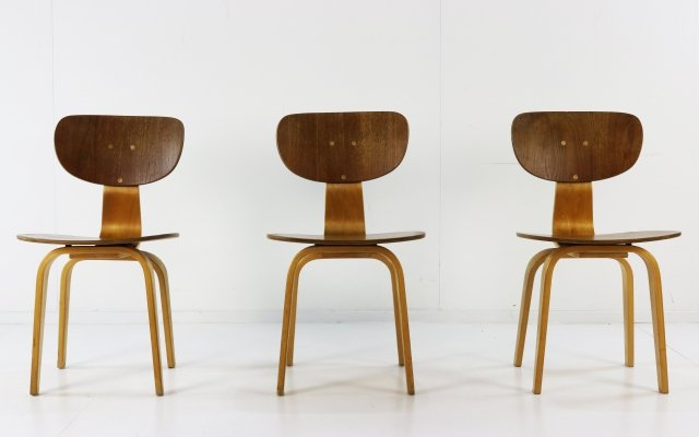Set of 3 SB02 dining chairs by Cees Braakman for Pastoe, 1960s