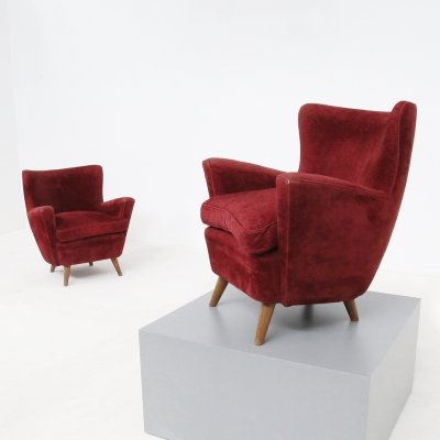 Pair of italian armchairs in Bordeaux Velvet, 1950s