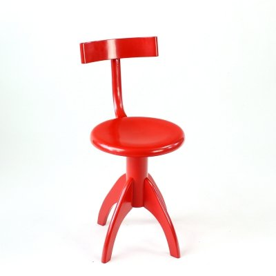 Red Vintage Piano Chair With Backrest by Ton, Czechoslovakia 1960s