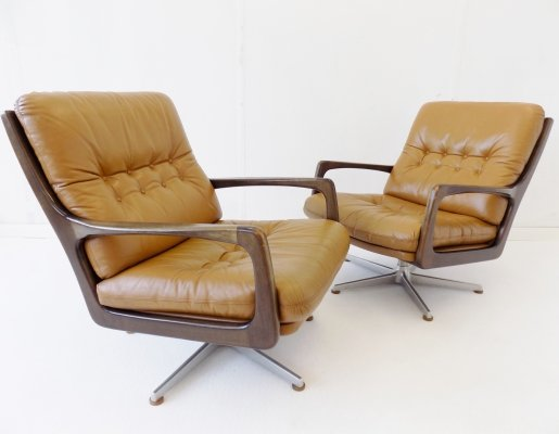 Eugen Schmidt set of 2 caramel leather armchairs for Soloform