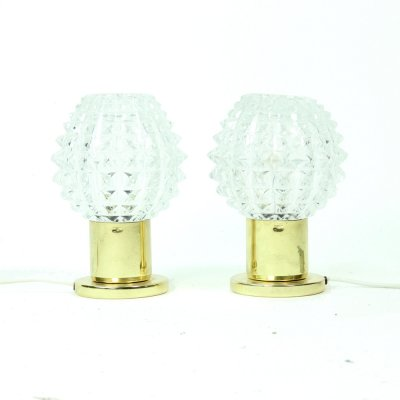 Pair of Glass And Brass Table Lamps From Lustry Kamenicky Senov, 1970s