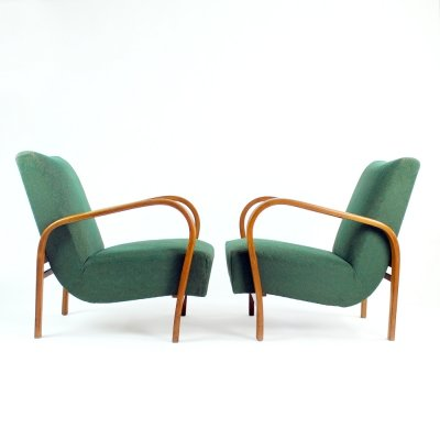 Armchairs In Geen Fabric And Oak by Kropacek And Kozelka, Czechoslovakia 1940s