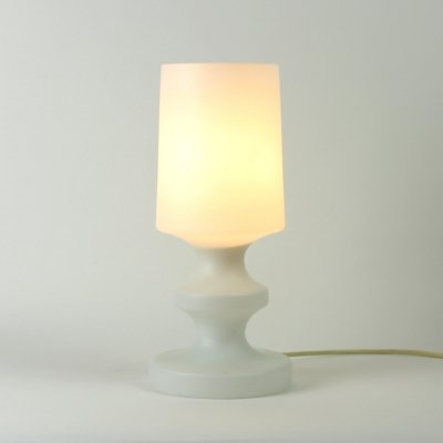 White Opaline Glass Table Lamp by Ivan Jakes for Osvetlovaci Sklo, Czechoslovakia 1960s