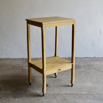 Midcentury Rustic French Side Table & Shelf