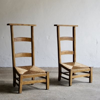 Pair of French Rush Seat Low Chairs, 1950s