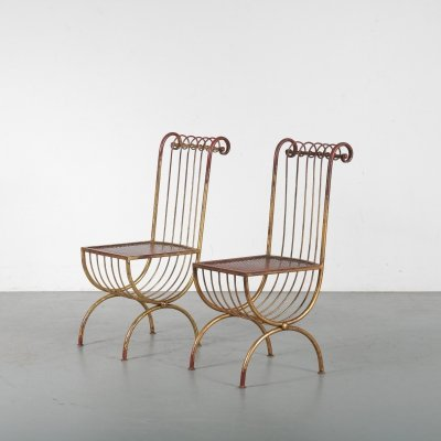 Pair of Side Chairs by S. Salvadori, Italy 1950