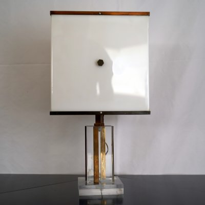 Romeo Rega Vintage Acrylic, Plexiglass & Brass Table Lamp, 1960s