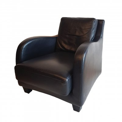 Black leather arm chair for Musa, Italy