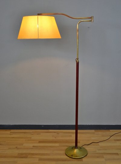 Adjustable Brass Floor Lamp, 1940s
