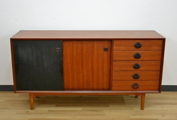 Vintage Italian Teak Sideboard with sliding double face doors made by Faram