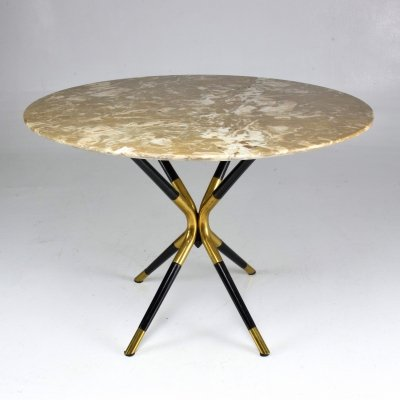 Italian Vintage Round Marble Table by Cesare Lacca, 1950s