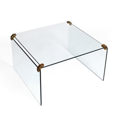 Glass Hollywood Regency coffee table, 1970s