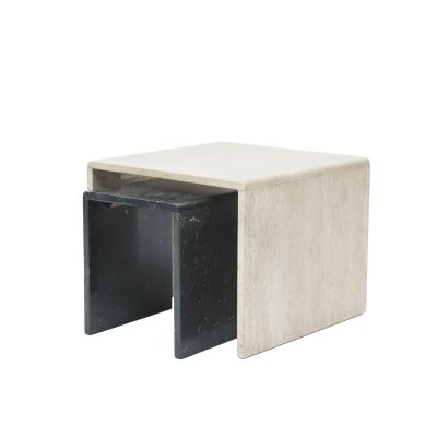 Travertine/marble side table set, Italy 1970s