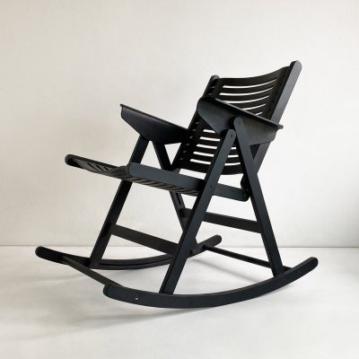 Folding Black Ashwood 'Rex' Rocking Chair by Niko Kralj