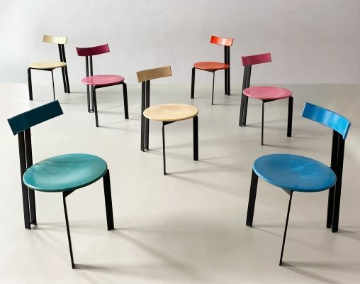 Postmodern Plywood & Steel 'Zeta' Chairs by Harvink, c.1970