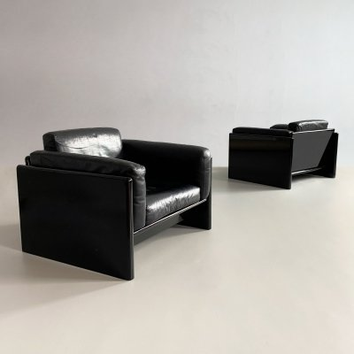 Pair of Black Lacquered 'Simone' Armchairs by Dino Gavina for Studio Simon, Italy 1970s
