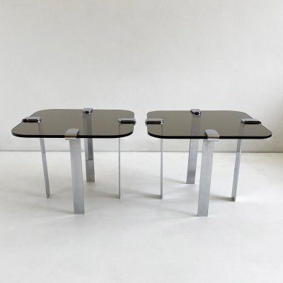 Pair of Tinted Glass & Chrome Side Tables, c.1970
