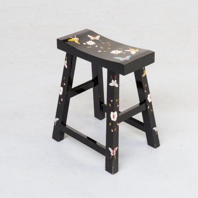 Asian style black lacquered handpainted stool with butterflies, 1990s