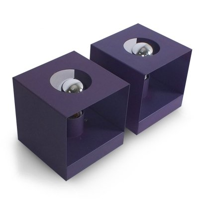 Set of 2 purple 70s block lights by Philips