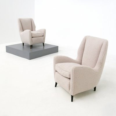 Pair of Mid Century armchairs by Isa Bergamo in white bouclè fabric, 1950s
