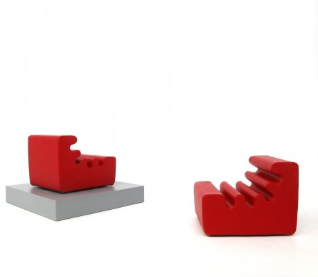 Pair of 'Karelia' red armchairs by Liisi Beckmann for Zanotta, 1970s
