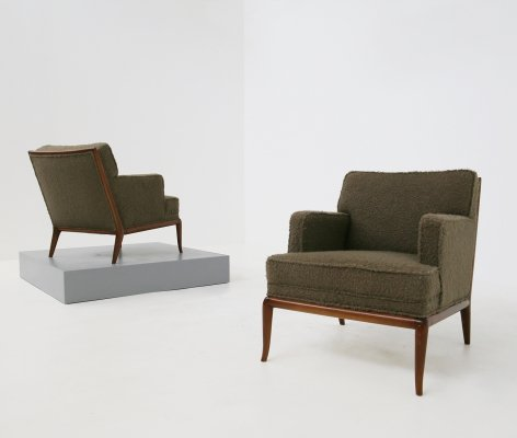 T.H. Robsjohn-Gibbings pair of midcentury armchairs in bouclè fabric brown, 1950s