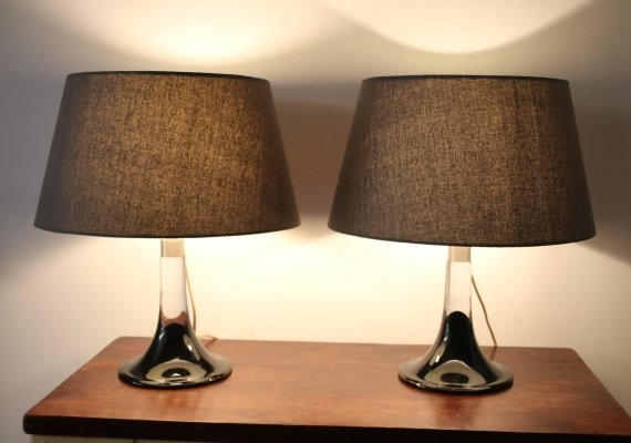 Pair of Glass 'Lille' Lamp Bases by Royal Copenhagen, 1970s