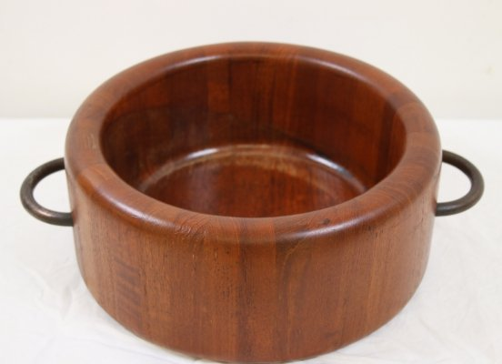 Teak Round Bowl with black handles by Digsmed, 1970s
