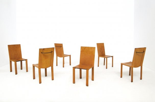 Set of 6 'Carol' chairs in leather by Carlo Bartoli for Matteograssi, Italy 1980s