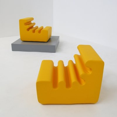 Pair of 'Karelia' yellow armchairs by Liisi Beckmann for Zanotta, 1970s