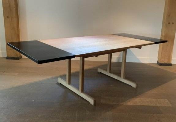 Shaker table by Børge Mogensen for Fredericia with black extension leaves, 1970