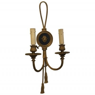 Five Louis XVI Style Gilded Bronze Italian Medusa Wall Sconces, circa 1930