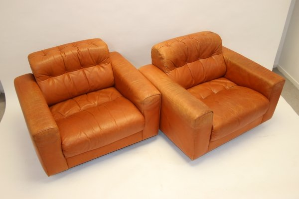 Pair of Vintage cognac leather DS40 Club chairs by de Sede