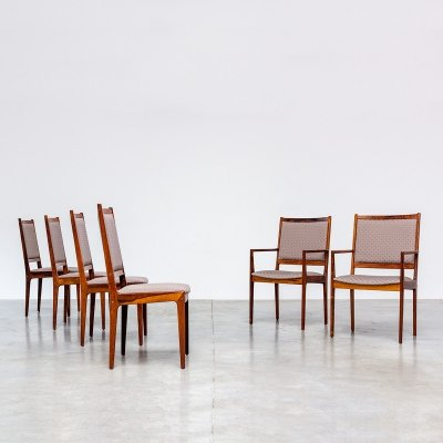 Scandinavian modern rosewood set of 6 dining chairs, Denmark 1960