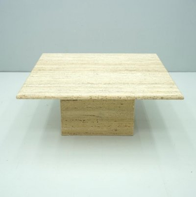 Square Travertine Coffee Table, Italy 1970s