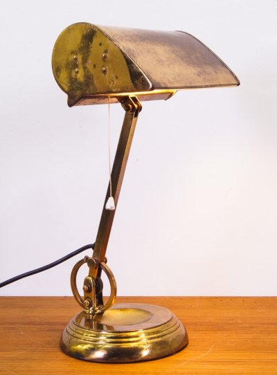 Bankers Lamp in Brass, England 1920s