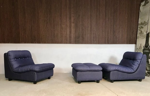 Vintage German Modular Lounge Chairs & Ottoman, 1960s