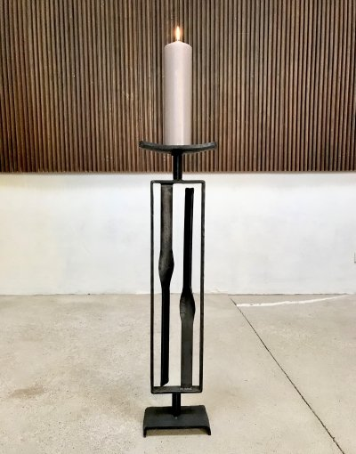 German Large Brutalist Wrought Iron Candle Holder, 1960s
