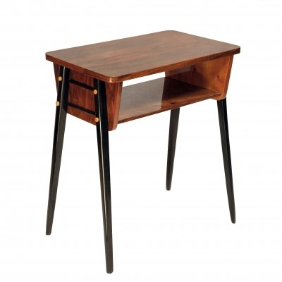 Small & modernist radio table in Walnut from Koronowo, Poland 1970s