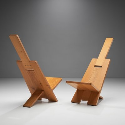 Pair of Alain Gaubert 'Africanist' Chairs, France 1980s