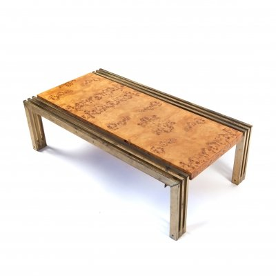 Italian Regency Coffee Table in Gilded Brass & Elm Burl Veneer, 1970's