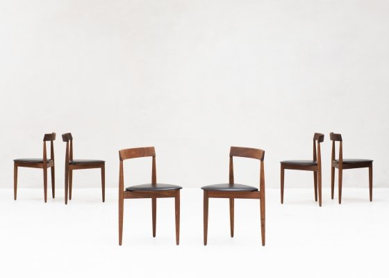Set of 6 tripod dining chairs by Hans Olsen for Frem Rojle, Denmark 1960