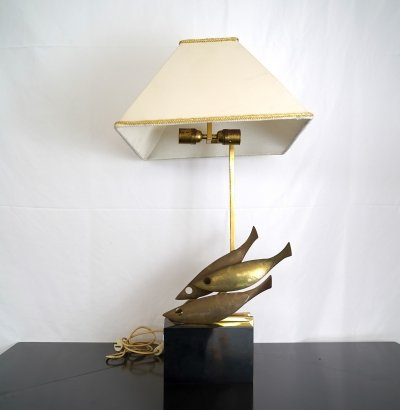 Midcentury Italian brass table lamp by Pragos, 1970s