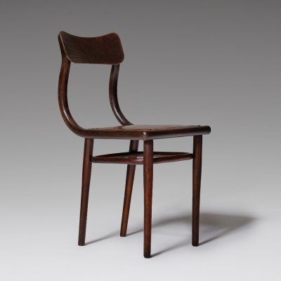 Thonet side chair with cognac leather seat, early 1900