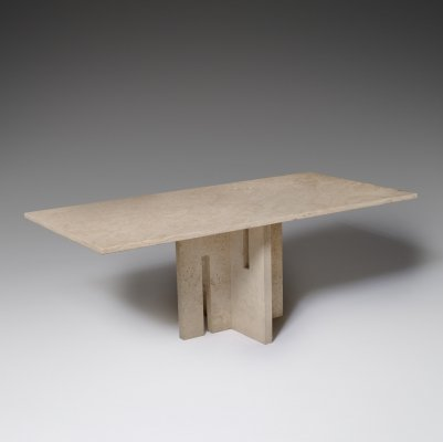 Italian Mid-Century Travertine Dining Table, 1970s