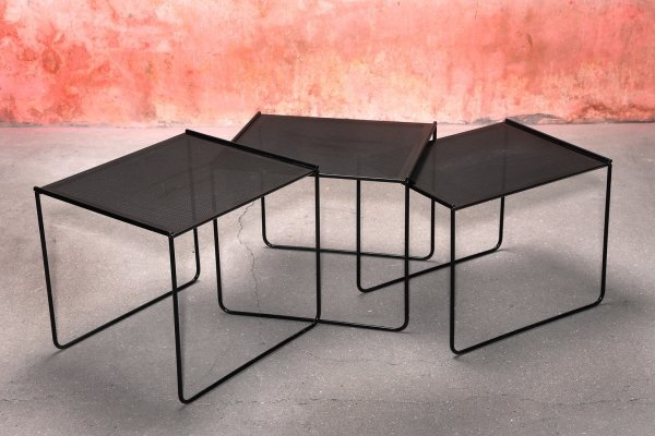 Vintage set of Three Black Perforated Metal Nesting Tables, 70/80s