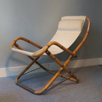 Pair of Foldable bamboo lounge chairs, 1950s
