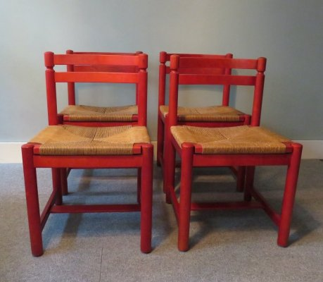 Set of 4 red chairs, Belgium 1970s