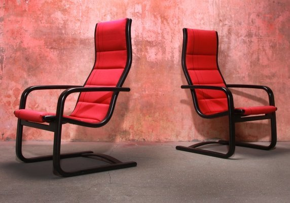 Set of Two Lamello Easy Chair by Yngve Ekstrom for Swedese , 1980s