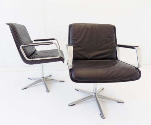 Wilkhahn Delta set of 2 black leather armchairs, 1960s